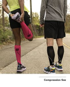 Compression sleeves for legs are becoming popular among runners to alleviate calf and lower leg pain by bringing more blood flow to the area.